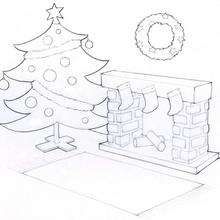 Dibujo para colorear : Arbol de Navidad con la chimenea