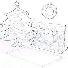 Arbol de Navidad con la chimenea