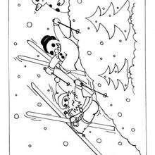 Colorear el esquí - Dibujos para Colorear y Pintar - Dibujos para colorear FIESTAS - Dibujos para colorear de NAVIDAD - Colorear dibujos MUÑECOS DE NAVIDAD