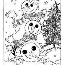 Los 3 muñecos de nieve - Dibujos para Colorear y Pintar - Dibujos para colorear FIESTAS - Dibujos para colorear de NAVIDAD - Colorear dibujos MUÑECOS DE NAVIDAD