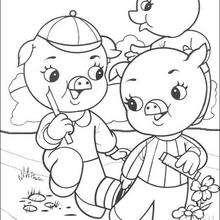 Dibujo de los 3 cerditos hablando - Dibujos para Colorear y Pintar - Dibujos de CUENTOS para colorear - Dibujos de los 3 CERDITOS para colorear