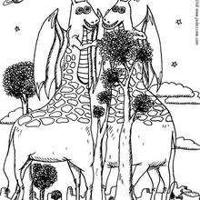 Monstruo jirafa - Dibujos para Colorear y Pintar - Dibujos infantiles para colorear - Monstruos para pintar
