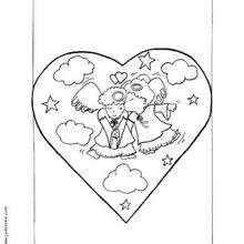 Dibujo para colorear : Angeles en el corazón