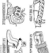 Monstruos bichos - Dibujos para Colorear y Pintar - Dibujos infantiles para colorear - Monstruos para pintar