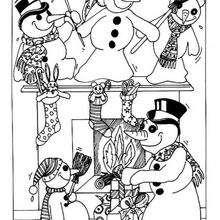 Los muñecos de nieve se juerguean - Dibujos para Colorear y Pintar - Dibujos para colorear FIESTAS - Dibujos para colorear de NAVIDAD - Colorear dibujos MUÑECOS DE NAVIDAD