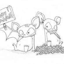 Los murciélagos de Halloween - Dibujos para Colorear y Pintar - Dibujos para colorear FIESTAS - Dibujos para colorear HALLOWEEN - Dibujos para colorear MURCIELAGOS HALLOWEEN