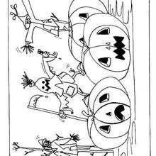 Los espantapájaros y las calabazas - Dibujos para Colorear y Pintar - Dibujos para colorear FIESTAS - Dibujos para colorear HALLOWEEN - Dibujos para colorear ESPANTAPAJAROS HALLOWEEN