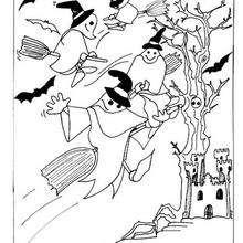 Casa encantada con fantasmas - Dibujos para Colorear y Pintar - Dibujos para colorear FIESTAS - Dibujos para colorear HALLOWEEN - Dibujos para colorear CASA ENCANTADA