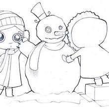Dibujo para colorear : Hacer un muñeco de nieve