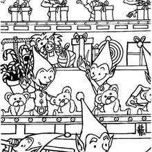 Dibujo de los ayudantes de Santa trabajando - Dibujos para Colorear y Pintar - Dibujos para colorear FIESTAS - Dibujos para colorear de NAVIDAD - Dibujos ELFOS DE NAVIDAD para colorear
