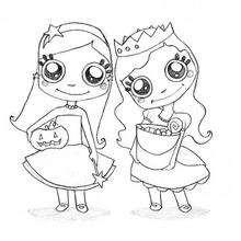 Dibujo para colorear : Las princesas de Halloween