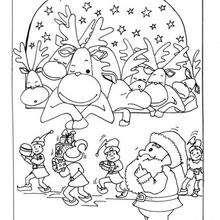 Los renos - Dibujos para Colorear y Pintar - Dibujos para colorear FIESTAS - Dibujos para colorear de NAVIDAD - Colorear dibujos RENOS NAVIDEÑOS
