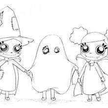 Las brujas y el fantasma de halloween - Dibujos para Colorear y Pintar - Dibujos para colorear FIESTAS - Dibujos para colorear HALLOWEEN - Dibujos de BRUJAS para colorear - Dibujos para colorear ONLINE BRUJAS