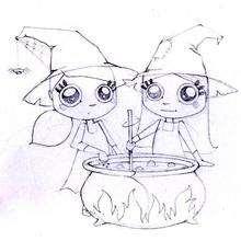 Las brujas gemelas - Dibujos para Colorear y Pintar - Dibujos para colorear FIESTAS - Dibujos para colorear HALLOWEEN - Dibujos de BRUJAS para colorear - Dibujos para colorear ONLINE BRUJAS