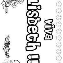 LISBETH colorear nombres niñas - Dibujos para Colorear y Pintar - Dibujos para colorear NOMBRES - Dibujos para colorear NOMBRES NIÑAS