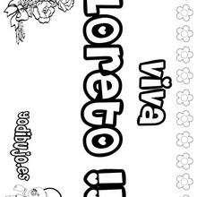 LORETO pintar nombre niño - Dibujos para Colorear y Pintar - Dibujos para colorear NOMBRES - Dibujos para pintar NOMBRES NIÑOS