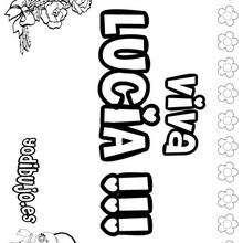 LUCIA colorear nombres niñas - Dibujos para Colorear y Pintar - Dibujos para colorear NOMBRES - Dibujos para colorear NOMBRES NIÑAS