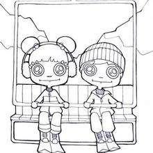Dibujo de niños en la telesilla - Dibujos para Colorear y Pintar - Dibujos para colorear DEPORTES - Dibujos de DEPORTES DE INVIERNO para colorear - Dibujos para colorear ESQUI