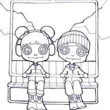 Dibujo para colorear : niños en la telesilla