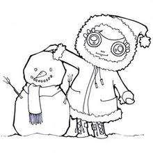 Andrea y el muñeco de nieve - Dibujos para Colorear y Pintar - Dibujos para colorear DEPORTES - Dibujos de DEPORTES DE INVIERNO para colorear