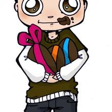 Ilustración : Dibujo de Luis con huevos de chocolate para pascua
