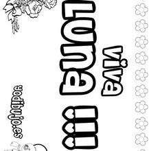 LUNA colorear nombres niñas - Dibujos para Colorear y Pintar - Dibujos para colorear NOMBRES - Dibujos para colorear NOMBRES NIÑAS