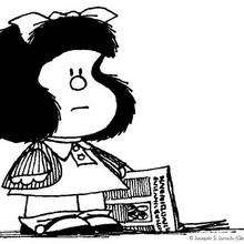 Dibujo para colorear : Mafalda con un periódico