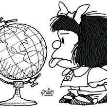 Dibujo de Mafalda lengua - Dibujos para Colorear y Pintar - Dibujos para colorear PERSONAJES - PERSONAJES COMIC para colorear - Dibujos para colorear MAFALDA