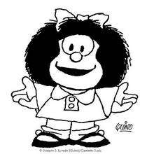 Dibujo de Mafalda sonrisa - Dibujos para Colorear y Pintar - Dibujos para colorear PERSONAJES - PERSONAJES COMIC para colorear - Dibujos para colorear MAFALDA