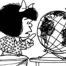 Dibujo para colorear : Mafalda y el globo