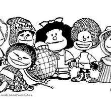 Dibujo de Mafalda y los niños - Dibujos para Colorear y Pintar - Dibujos para colorear PERSONAJES - PERSONAJES COMIC para colorear - Dibujos para colorear MAFALDA