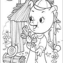 Dibujo de uno de los 3 cerditos - Dibujos para Colorear y Pintar - Dibujos de CUENTOS para colorear - Dibujos de los 3 CERDITOS para colorear