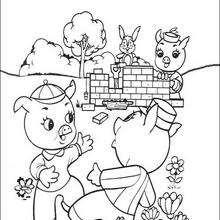 Dibujo de los tres felices cerditos - Dibujos para Colorear y Pintar - Dibujos de CUENTOS para colorear - Dibujos de los 3 CERDITOS para colorear