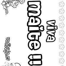 MAITE colorear nombres niñas - Dibujos para Colorear y Pintar - Dibujos para colorear NOMBRES - Dibujos para colorear NOMBRES NIÑAS