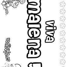 MALENA colorear nombres niñas - Dibujos para Colorear y Pintar - Dibujos para colorear NOMBRES - Dibujos para colorear NOMBRES NIÑAS
