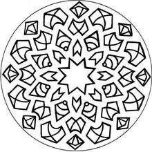 Dibujo para colorear : Mandala Estrella, flechas y rombos