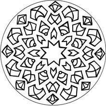Mandala Estrella, flechas y rombos - Dibujos para Colorear y Pintar - Dibujos para colorear MANDALAS - Dibujos de MANDALA ESTRELLA para colorear