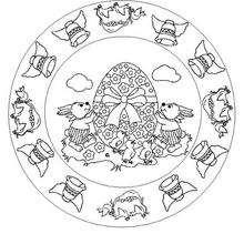 Mandala Campanas de Pascua - Dibujos para Colorear y Pintar - Dibujos para colorear MANDALAS - Dibujos de MANDALA PASCUA para colorear