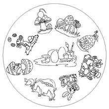 Dibujo para colorear : Mandala Huevos pintados