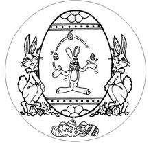 Dibujo para colorear : Mandala Conejitos