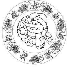 Dibujo para colorear : Mandala Muñeco de nieve y acebo