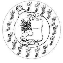Mandala Bota de Navidad - Dibujos para Colorear y Pintar - Dibujos para colorear MANDALAS - Dibujos de MANDALAS NAVIDEÑOS para colorear