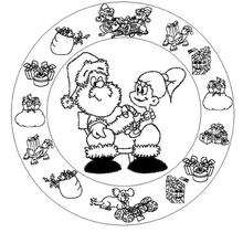 Dibujo para colorear : Mandala del Papa Noel