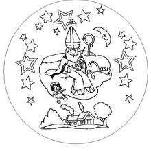 Mandala Santa Claus en el cielo - Dibujos para Colorear y Pintar - Dibujos para colorear MANDALAS - Dibujos de MANDALAS NAVIDEÑOS para colorear