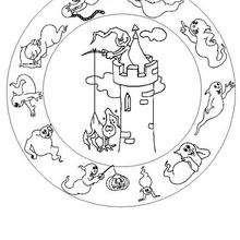 Dibujo para colorear : Castillo y fantasmas
