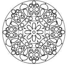 Dibujo para colorear : Mandala  Mariquitas y flores