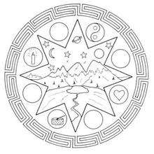Dibujo para colorear : Mandala Paisaje de montaña
