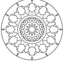 Dibujo para colorear : Mandala Pentágonos