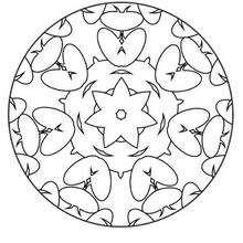 Mandala Flores y corazones - Dibujos para Colorear y Pintar - Dibujos para colorear MANDALAS - MANDALAS DE FLORES para colorear