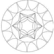 Dibujo para colorear : Mandala  Conos y estrellas